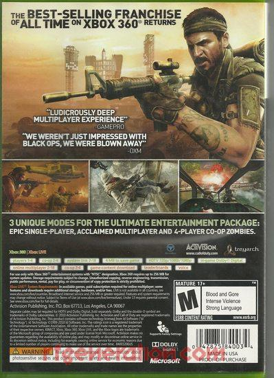 Call of Duty: Black Ops Box Back