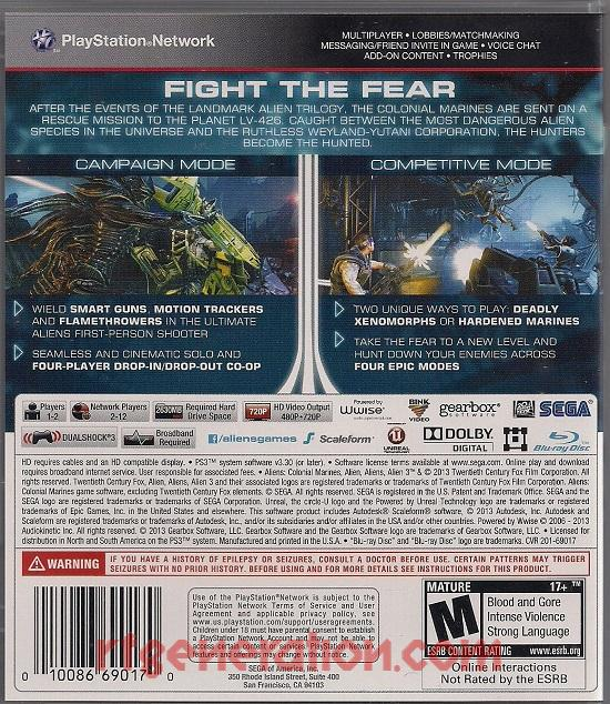 Aliens: Colonial Marines Box Back