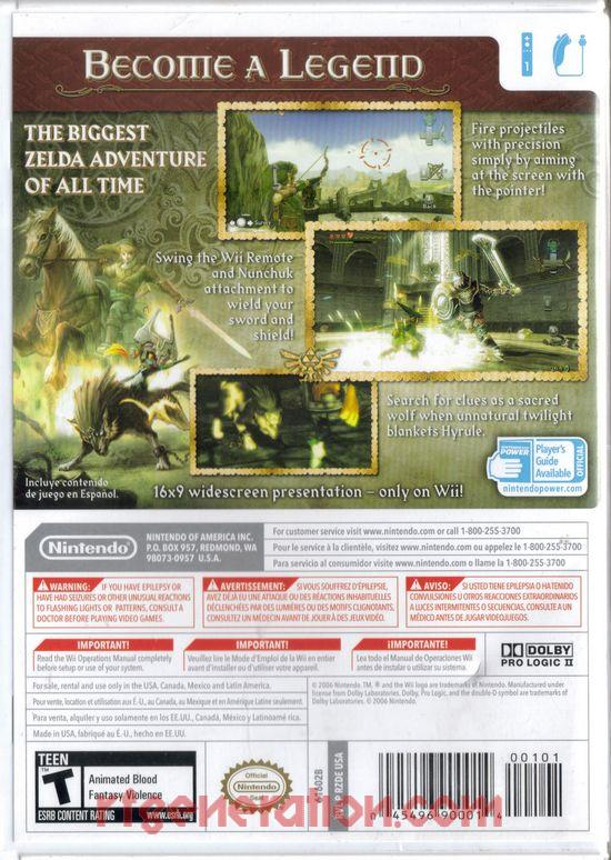 Legend of Zelda, The: Twilight Princess Box Back