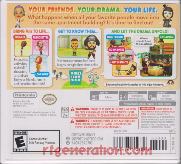 Tomodachi Life Box Back