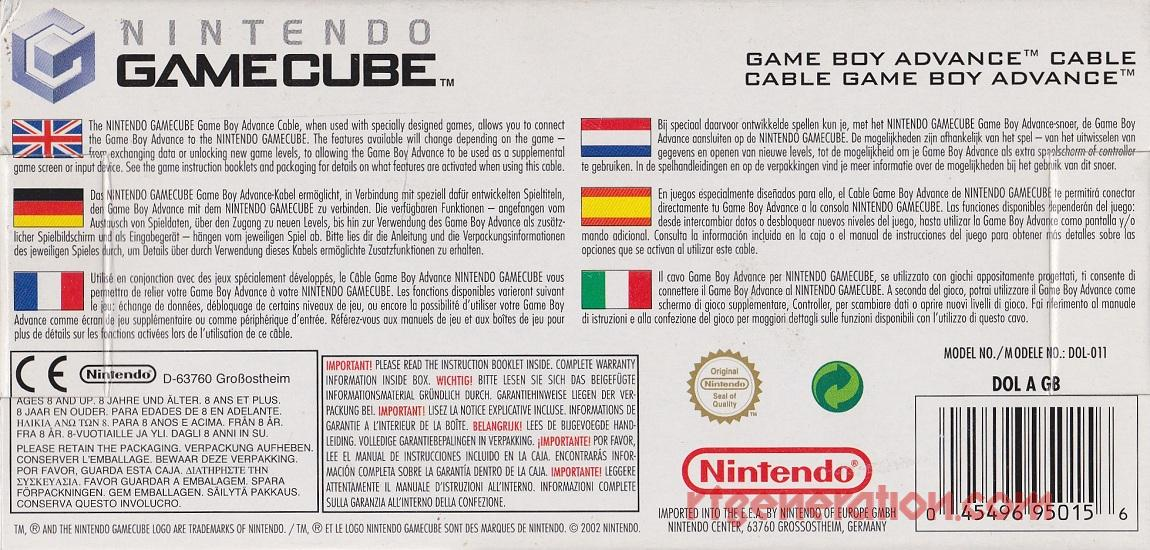 GameCube / Game Boy Advance Link Cable  Box Back Image