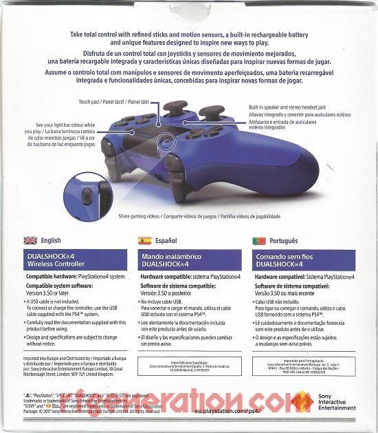 DualShock 4 Controller Wave Blue Box Back Image
