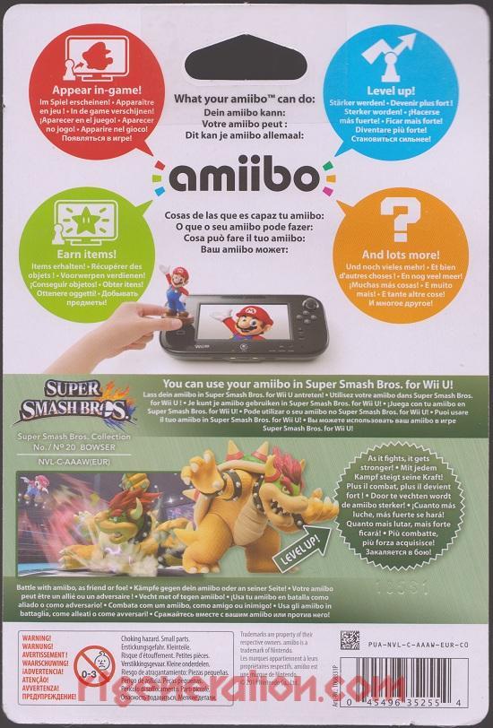 Amiibo: Super Smash Bros.: Bowser  Box Back Image