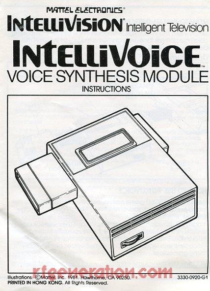 Mattel Intellivoice  Manual Scan