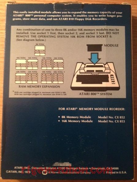 16K Memory Module  Box Back Image