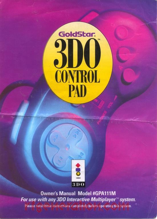 3DO Control Pad Goldstar Manual Scan