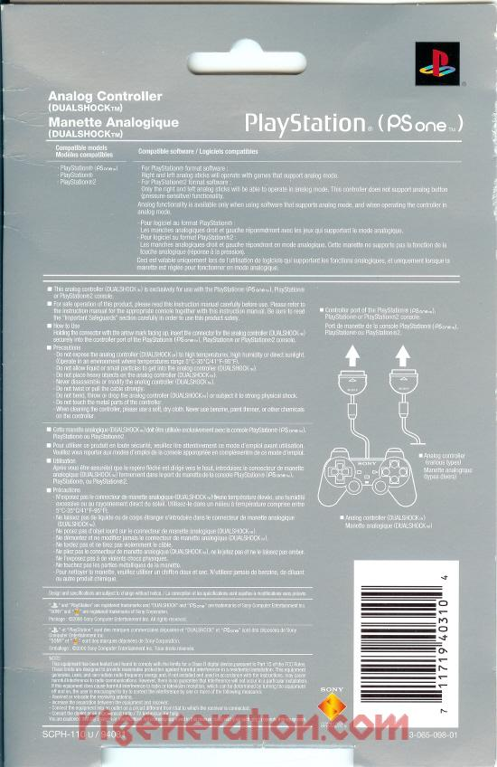 PSone DualShock Controller Official Sony Box Back Image