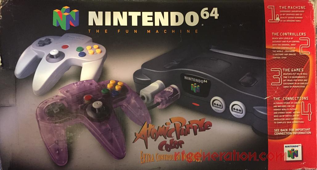 Nintendo 64 Atomic Purple Controller Bundle Box Front Image