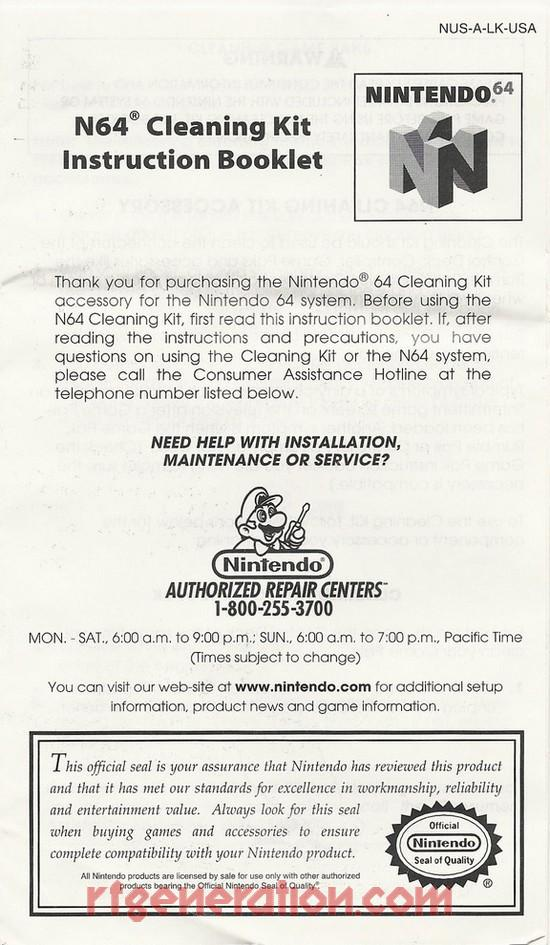 Cleaning Kit Official Nintendo Manual Scan