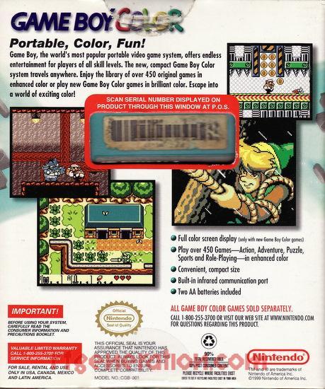 Nintendo Game Boy Color Teal Box Back Image