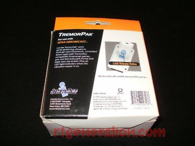 Dreamcast TremorPaK  Box Back Image