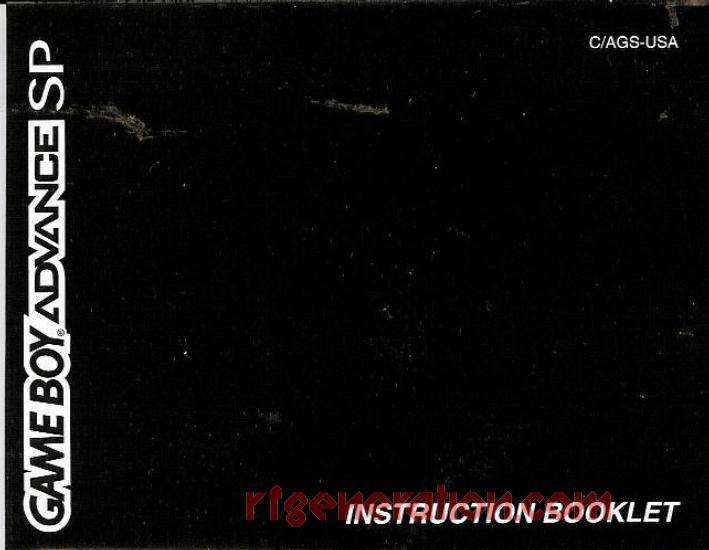 Nintendo Game Boy Advance SP Onyx Manual Scan