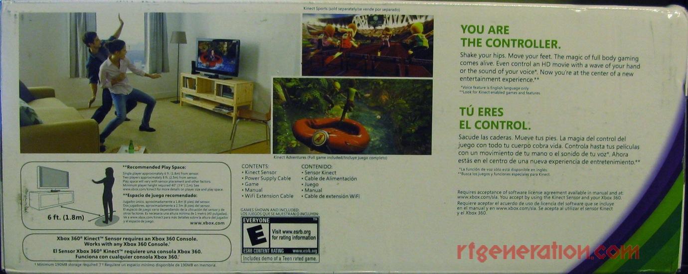 Microsoft Kinect Kinect Adventures Bundle Box Back Image