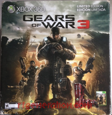 Microsoft Xbox 360 S Gears of War 3 Bundle Box Back Image
