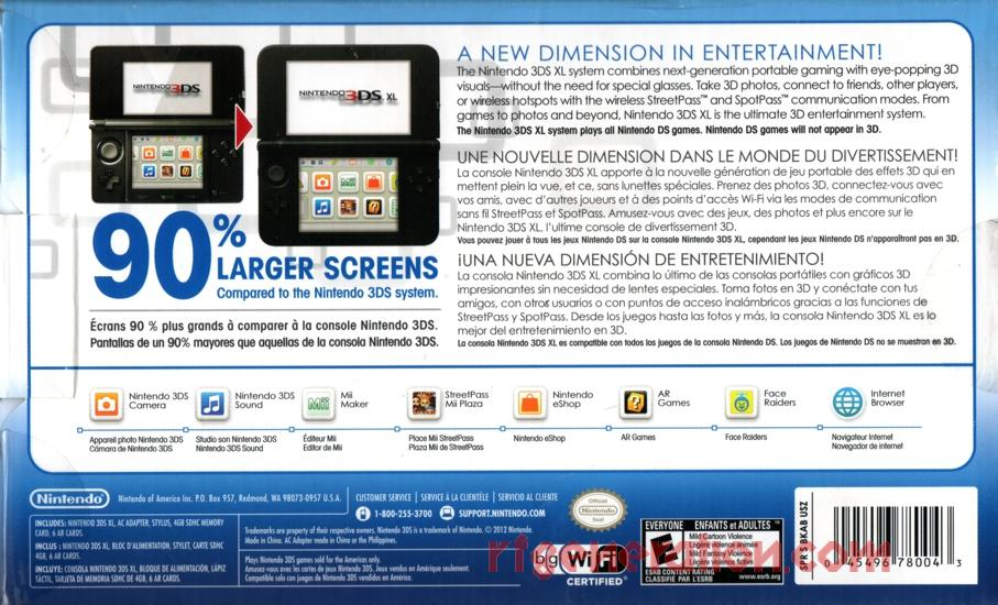 Nintendo 3DS XL Blue/Black 90% Larger Screens Box Back Image