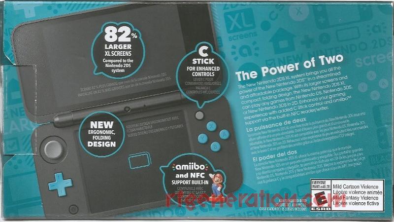 new Nintendo 2DS XL Black + Turquoise Box Back Image