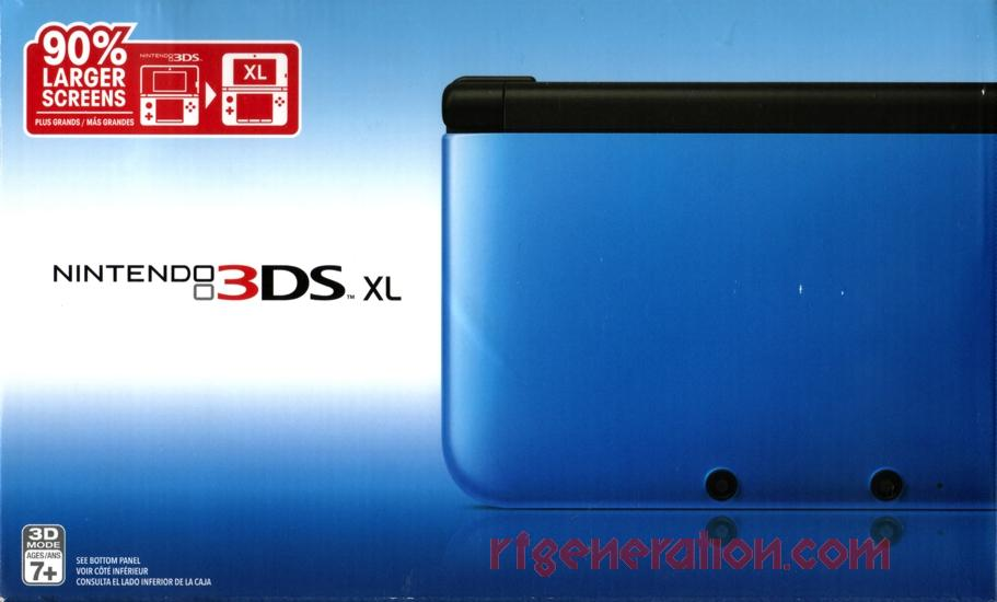 Nintendo 3DS XL Blue/Black 90% Larger Screens Box Front Image