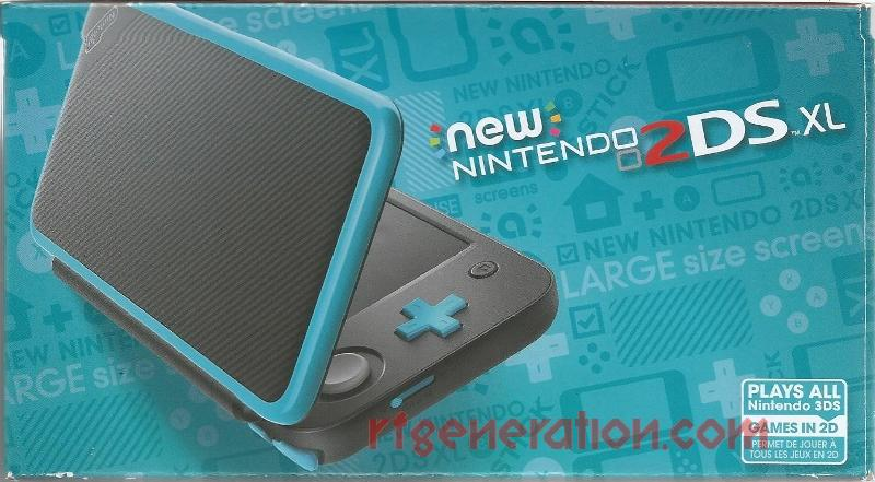 new Nintendo 2DS XL Black + Turquoise Box Front Image