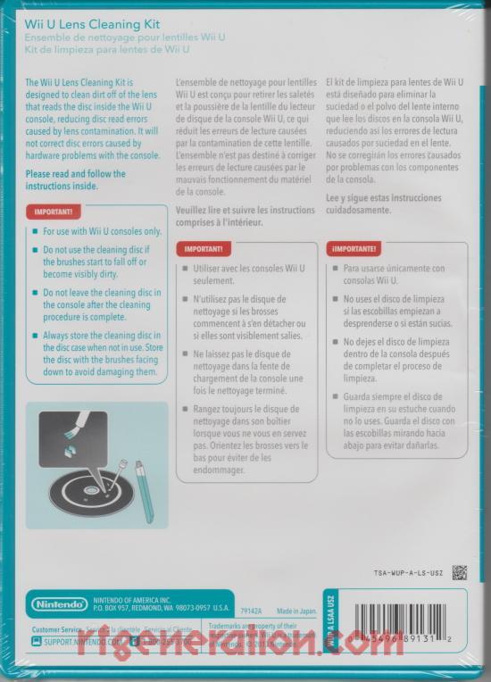 Wii U Lens Cleaning Kit  Box Back Image