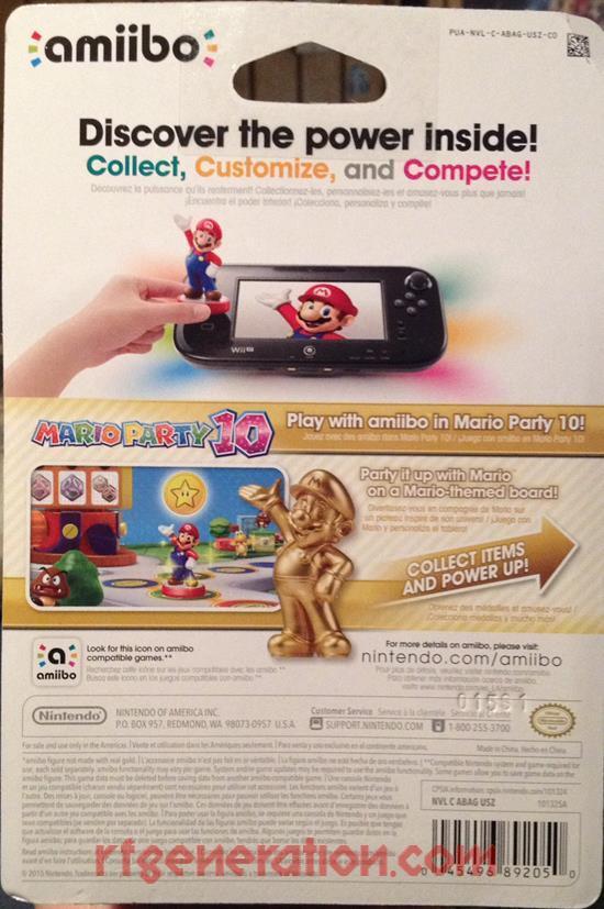 Amiibo: Super Mario Bros.: Mario Gold Box Back Image