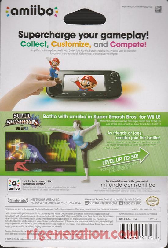 Amiibo: Super Smash Bros.: Wii Fit Trainer  Box Back Image