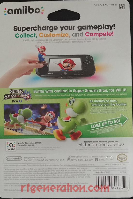Amiibo: Super Smash Bros.: Yoshi  Box Back Image