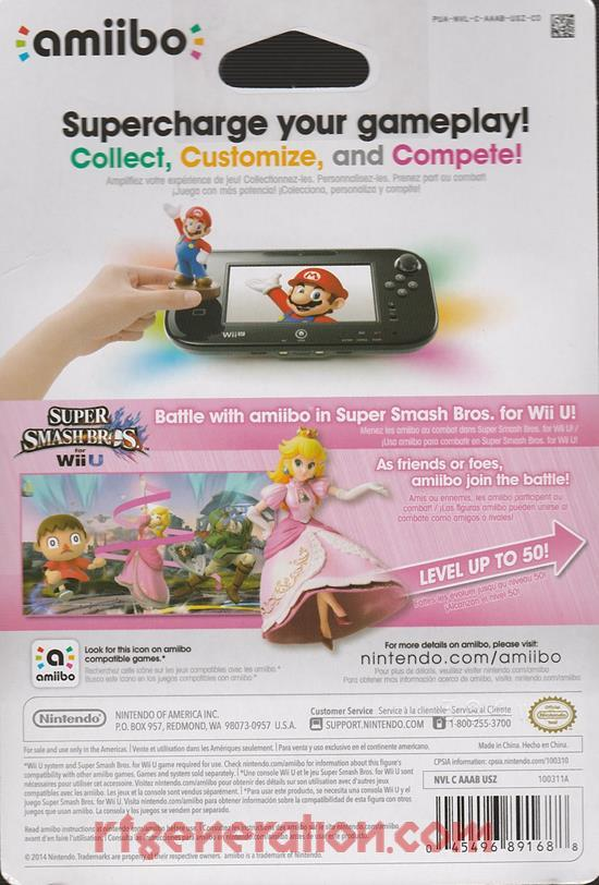 Amiibo: Super Smash Bros.: Peach  Box Back Image
