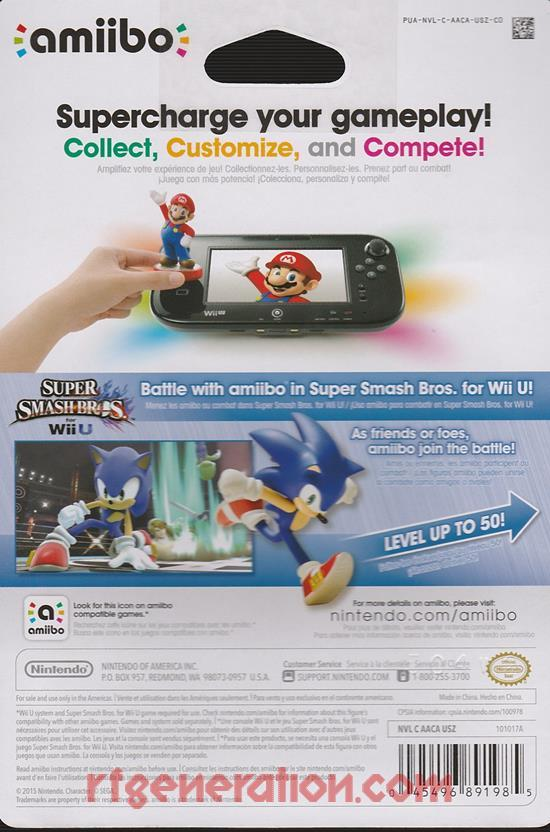 Amiibo: Super Smash Bros.: Sonic  Box Back Image