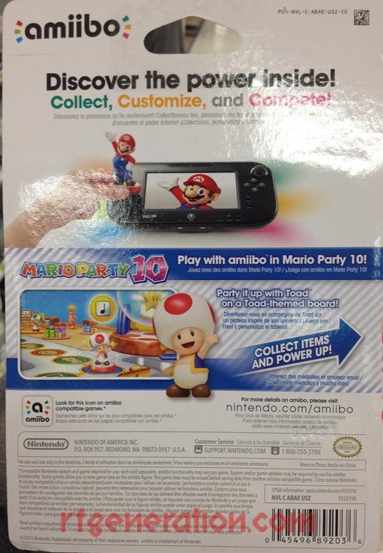 Amiibo: Super Mario Bros.: Toad  Box Back Image