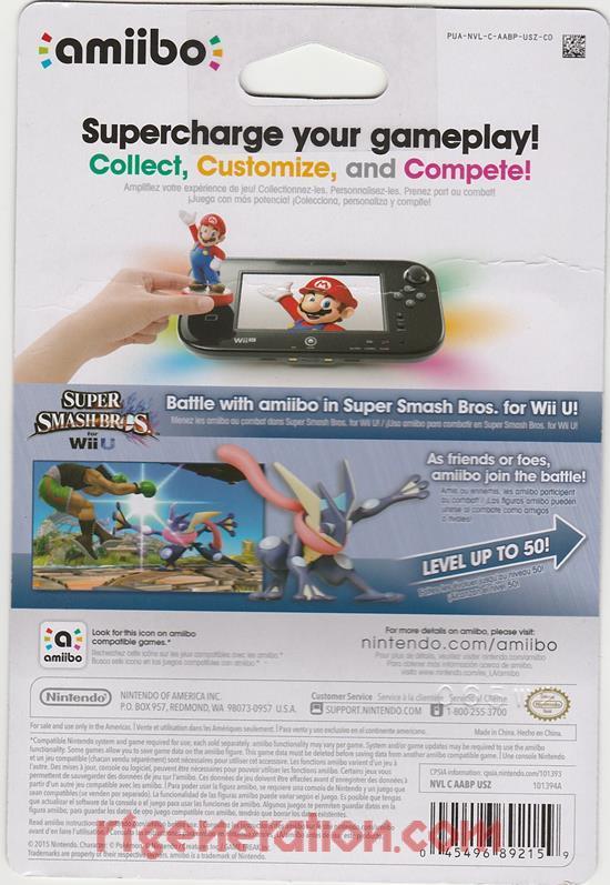 Amiibo: Super Smash Bros.: Greninja  Box Back Image