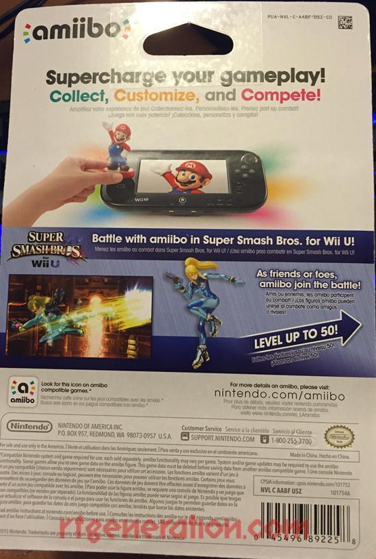 Amiibo: Super Smash Bros.: Zero Suit Samus  Box Back Image