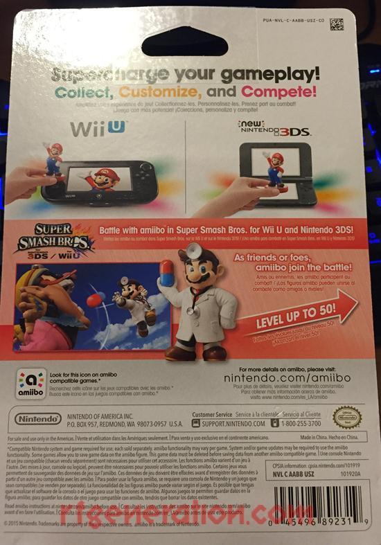 Amiibo: Super Smash Bros.: Dr. Mario  Box Back Image