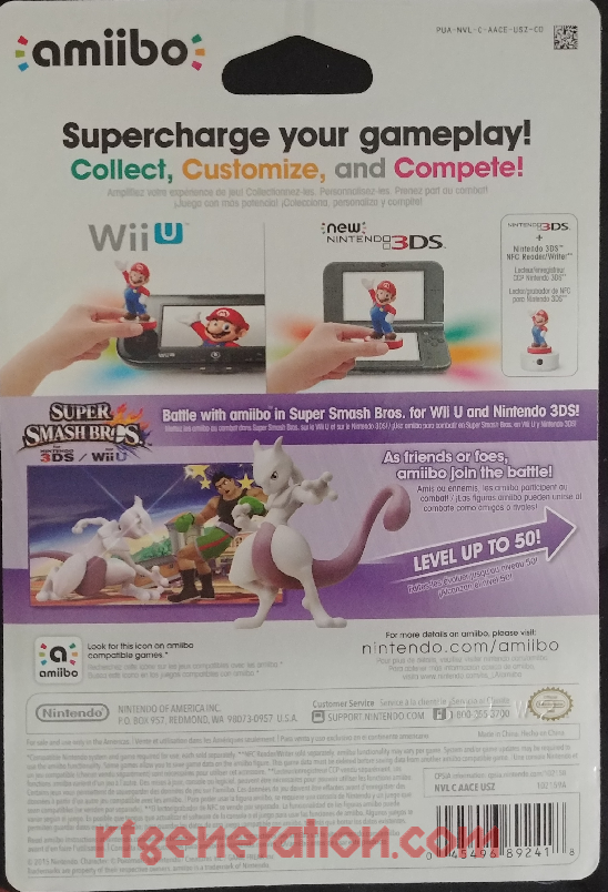 Amiibo: Super Smash Bros.: Mewtwo  Box Back Image