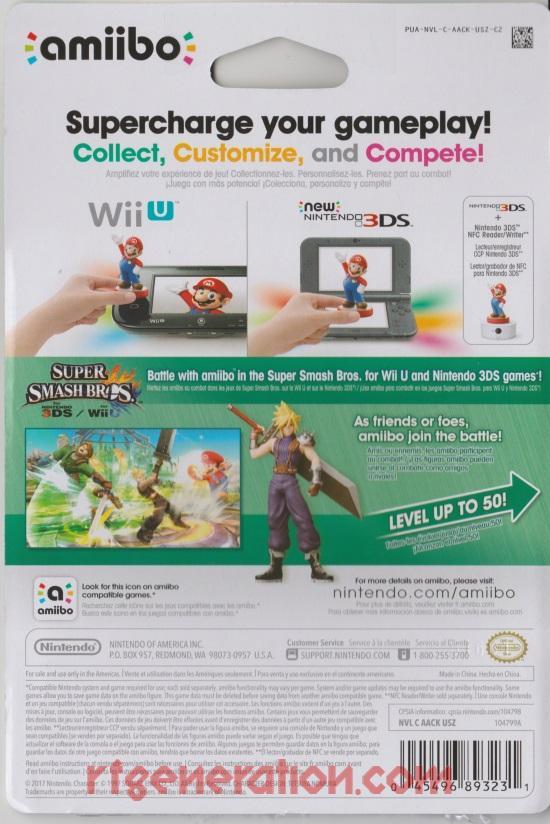 Amiibo: Super Smash Bros.: Cloud  Box Back Image