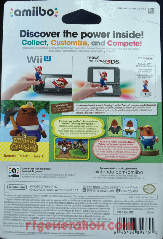 Amiibo: Animal Crossing: Resetti  Box Back Image