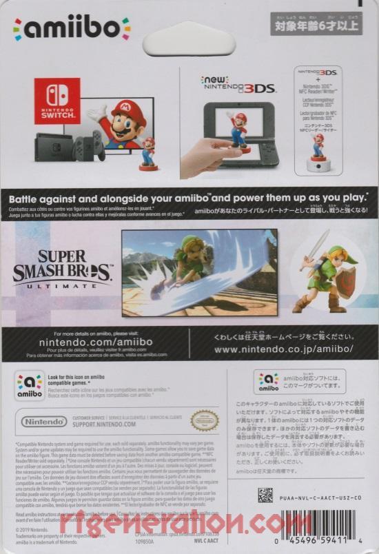 Amiibo: Super Smash Bros.: Young Link  Box Back Image
