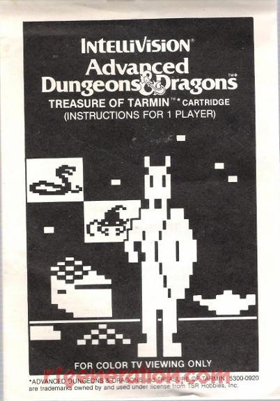 Advanced Dungeons & Dragons: The Treasure of Tarmin <sup>[White Label]</sup> Manual Scan