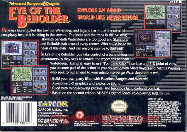 Advanced Dungeons & Dragons: Eye of the Beholder Box Back