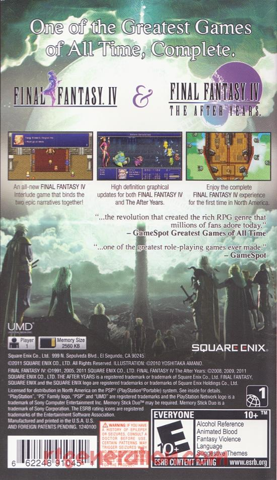 Final Fantasy IV: The Complete Collection Box Back