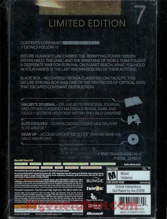Halo: Reach <sup>[Limited Edition]</sup> Box Back
