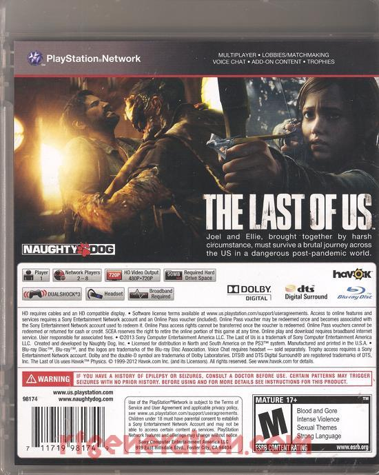 Last of Us, The Box Back